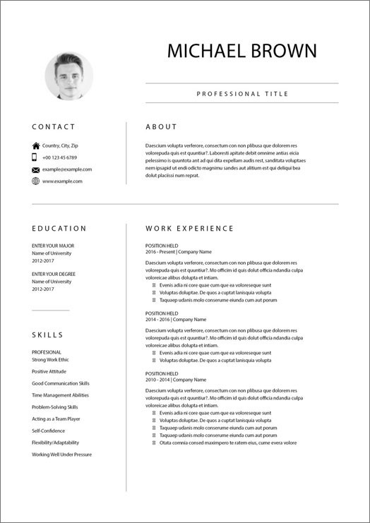 Unique Resume with Photo