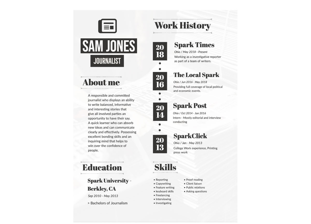 Journalism Visual Resume Template